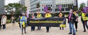 İstanbul Sözleşmesi için Brüksel'de eylem