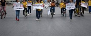 Hesekêli gençler şiddete karşı pedal çevirdi